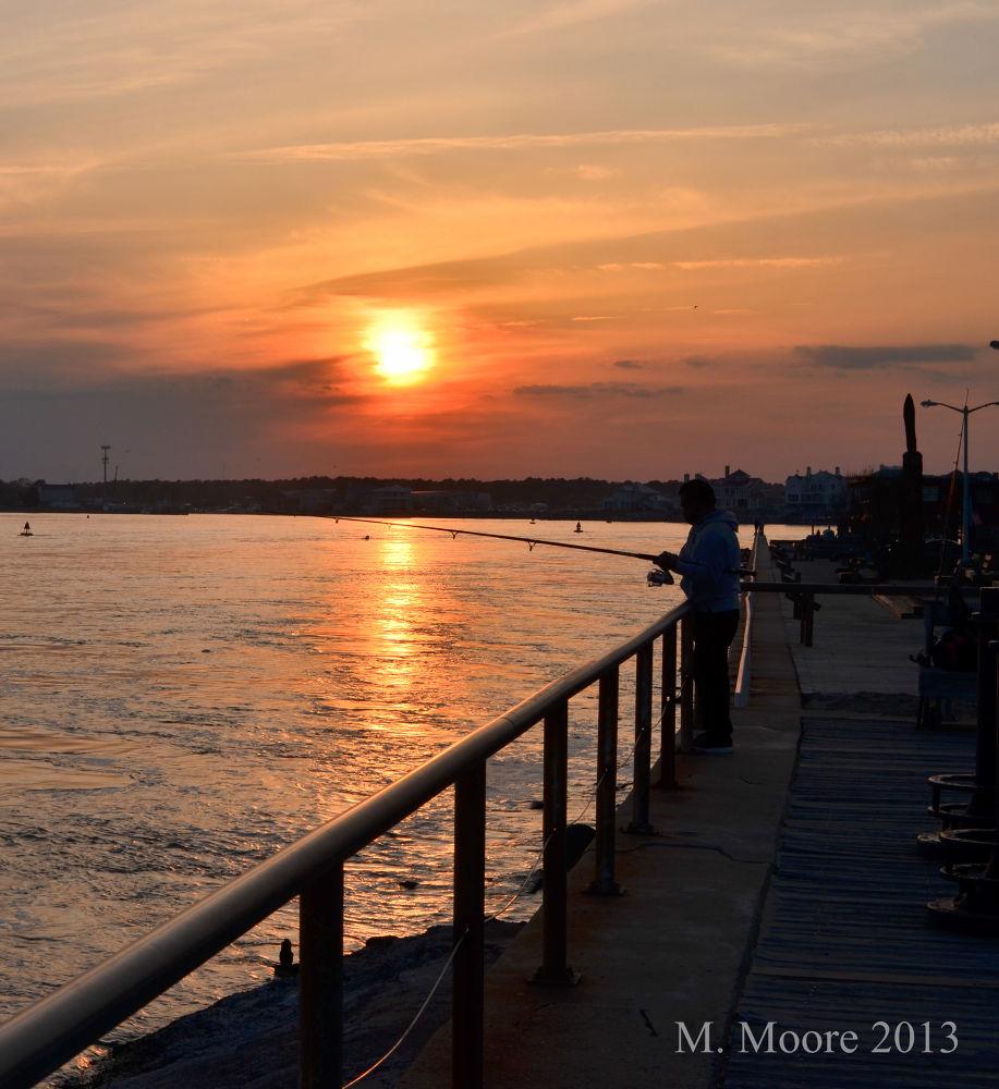 Photo in Landscape #fishing #sunset #oceancity #silhouette #vacation #boardwalk #d5100 #nikon