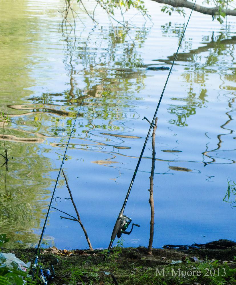 Photo in Random #fishing #pond #water #blue #rod #reflection #d5100 #nikon