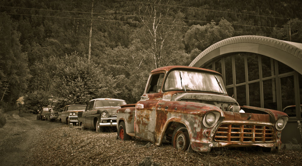 Photo in Vintage #graveyard #old #car #gas station #restaurant #reconditions #truck