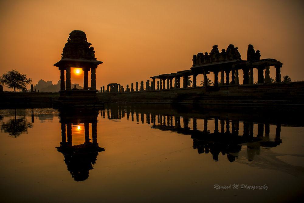 Photo in Landscape #reflection #sunrise #landscape #sunset #nature photography #mandapam #hampi #indian nature photography #landscape photography #hampi temple #hampi karanataka #krishna temple #indian landscape photography #golden sunrise