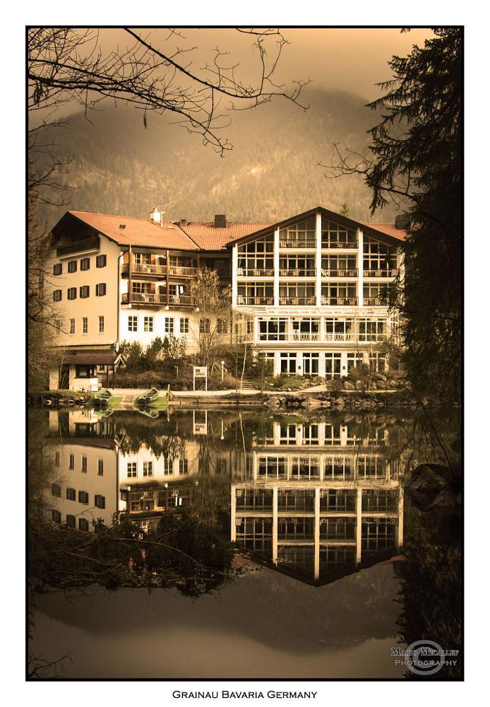 Photo in Landscape #reflections #bavaria #grainau #germany #lake #mountains #hotel #landscape