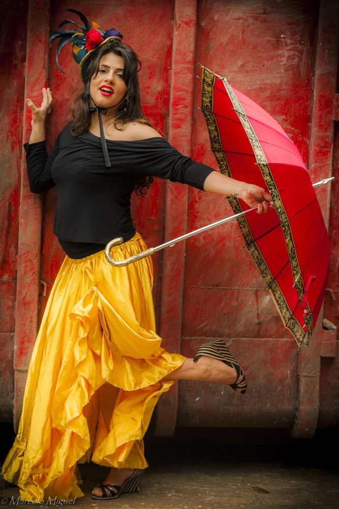 Photo in Fine Art #pin up #red #cancan #umbrella #woman