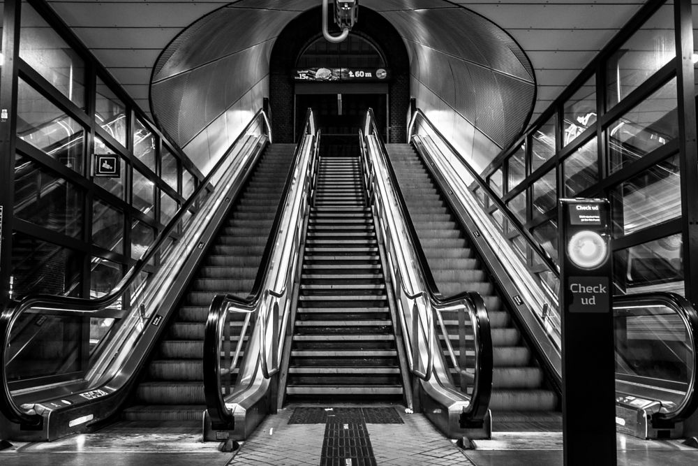 Photo in Black and White #escalator #bnw #blacandwhite