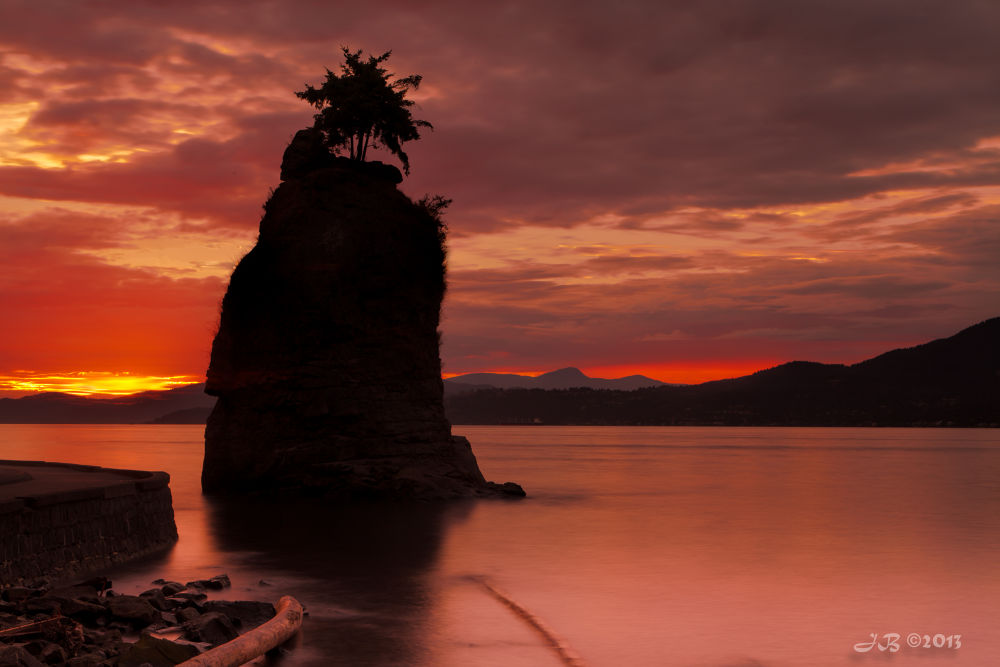 Photo in Landscape #siwash rock #stanely park #vancouver #british columbia #canada #sunset #orange #long exposure #ypa2013