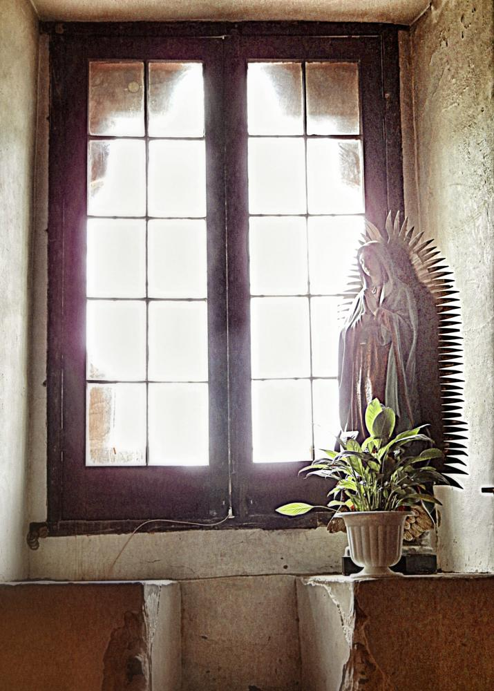 Photo in Interior #san antonio #mission concepcion #religion #window #sunlight #virgin mary #pieta #mark meyer #monochrome