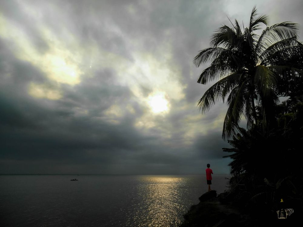 Photo in Nature #river #padma #water #nature #cloud #sky #sun #sunset #tree #palmtree