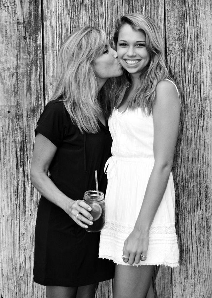 Photo in Portrait #mother #daughter #blonde #legs #blackandwhite #wood