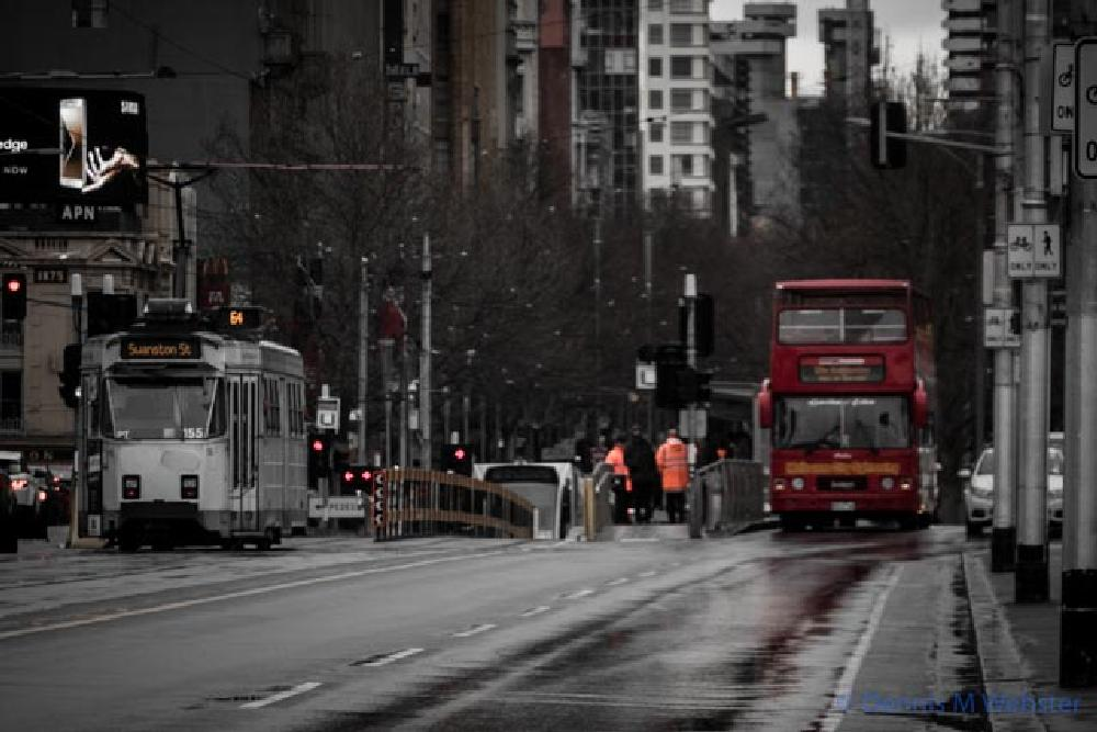 Photo in Street Photography #alexandra gardens #melbourne #cold #wet #winter #double decker #bus #tram #z class tram #flinders street #station