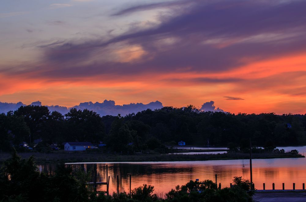 Photo in Random #sunset #clouds #purple #water #calm #serene