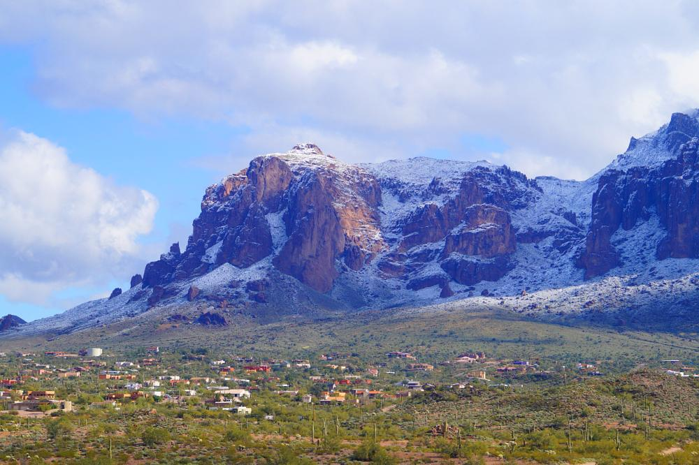Photo in Landscape #snow #winter #desert #superstition mountains #arizona #ghost town