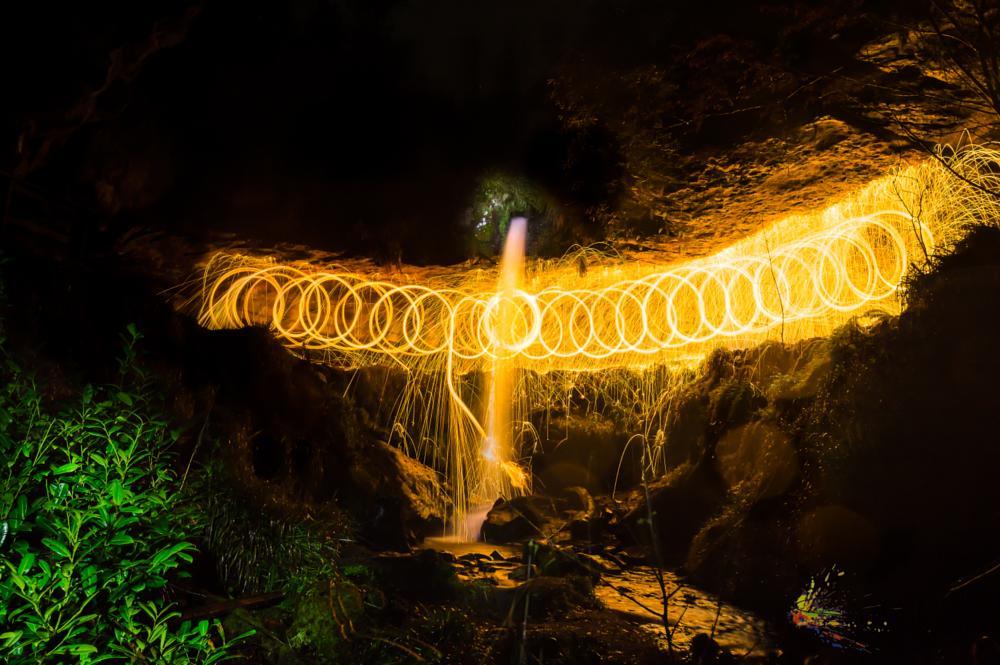Photo in Landscape #waterfall #water #fire #wool #steel #fun #light #fflame