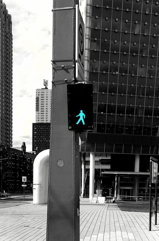 Photo in Street Photography #rotterdam #streetlight #voetgangersoversteekplaats #pedestrian crossing #green light #safe #black&white #selective color