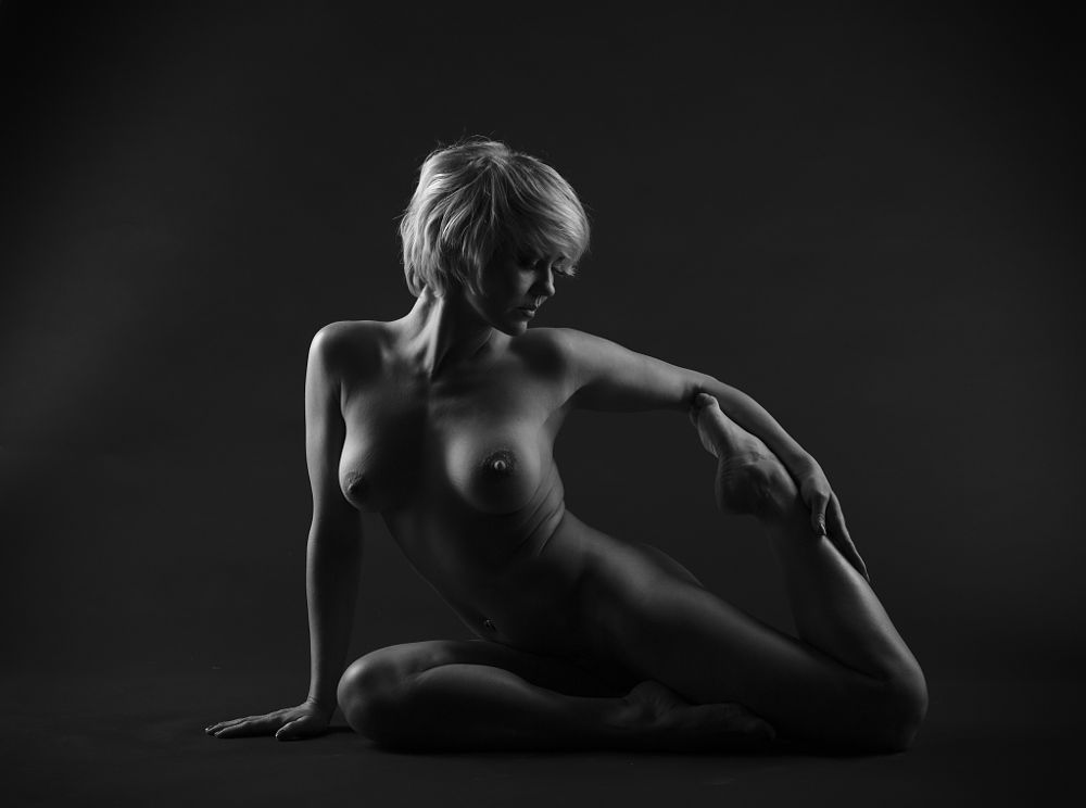 Photo in Nude #people #portrait #woman #female #model #nude #indoor #studio #monochrome #black and white