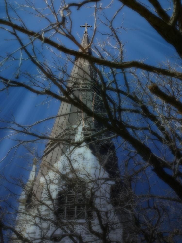 Photo in Architecture #church #steeple #cross #mysterious