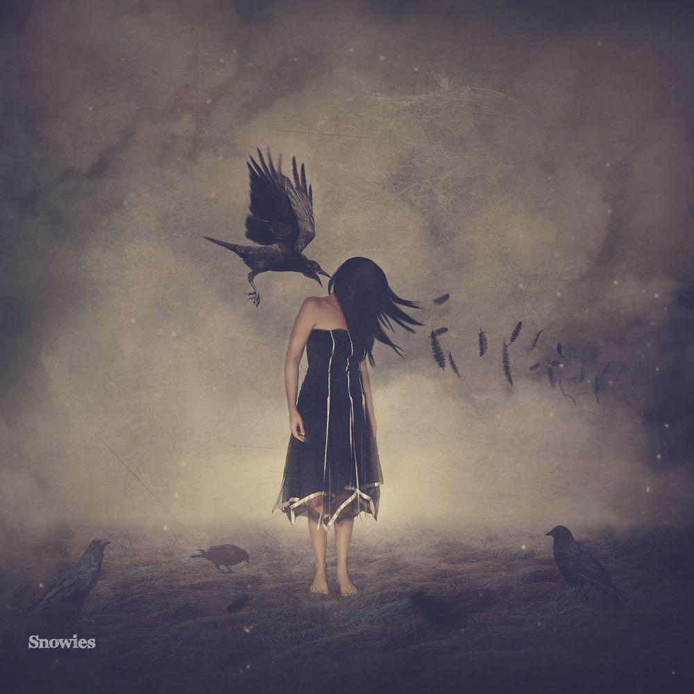 Photo in Fine Art #dark #art #fine art #girl #crow #changes #clouds #storm #surreal #fantasy #digital art #digital manipulation #birds #crows