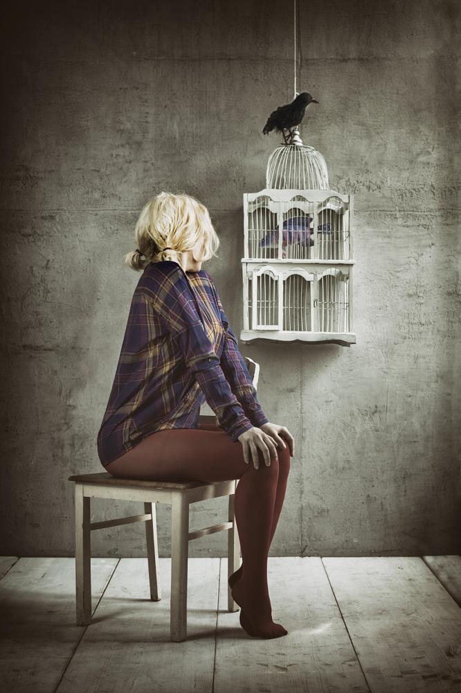 Photo in People #girl #vogel #fisch #emotion