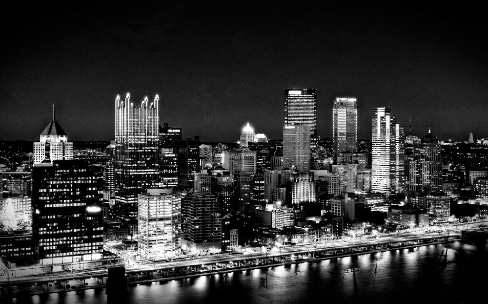 Photo in Cityscape #pittsburgh #downtown #pennsylvania #buildings #skyline #black and white