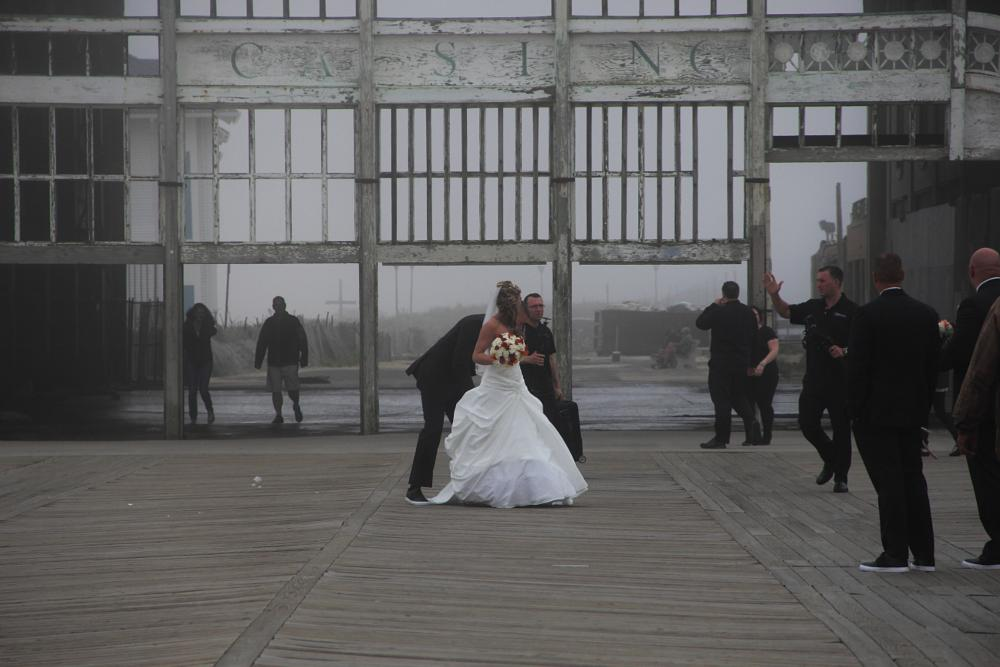Photo in People #wedding #boardwalk #foggy #bride