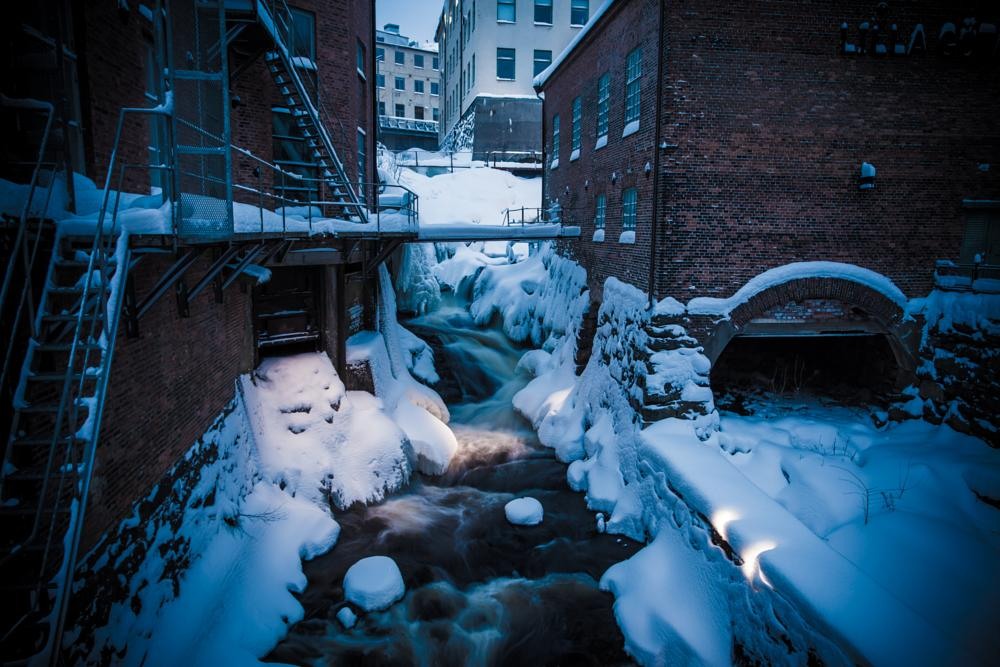 Photo in Architecture #cold #winter #dark #snow #water #sweden #building
