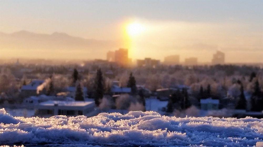 Photo in Cityscape #frost #sundog #mountains #city