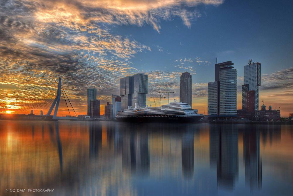 Photo in Cityscape #kop van zuid #rotterdam #cruise ship #koningsdam #holland america line #erasmusbrug #sunrise #ndnd
