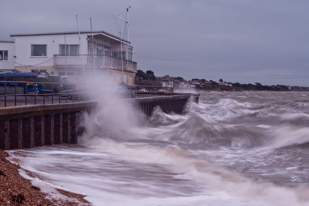 Photo in Landscape #tide #water #waves #crashing #sea #wall #sailing #club #hill #head #fareham #hampshire #storm