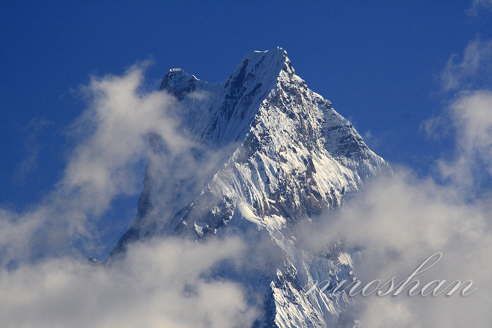 Photo in Landscape #mountain #snow #fishtail #machhapuchhre #himlayas #nepal #clouds