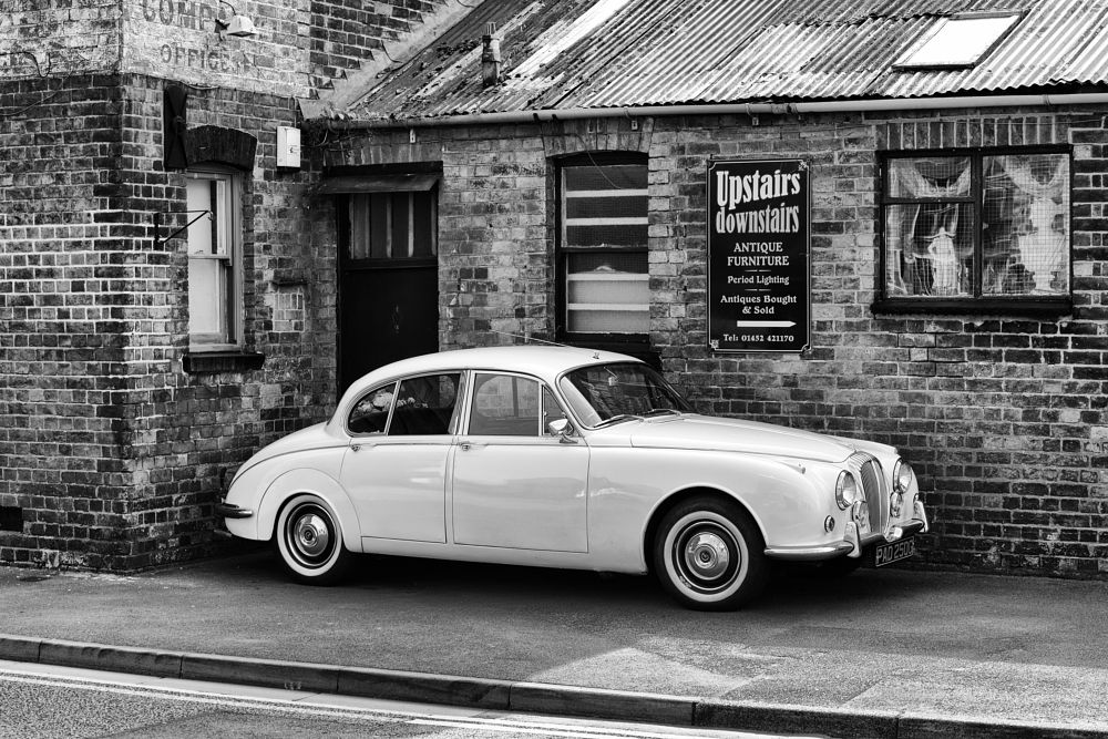 Photo in Black and White #jag #jaguar #black and white #antique