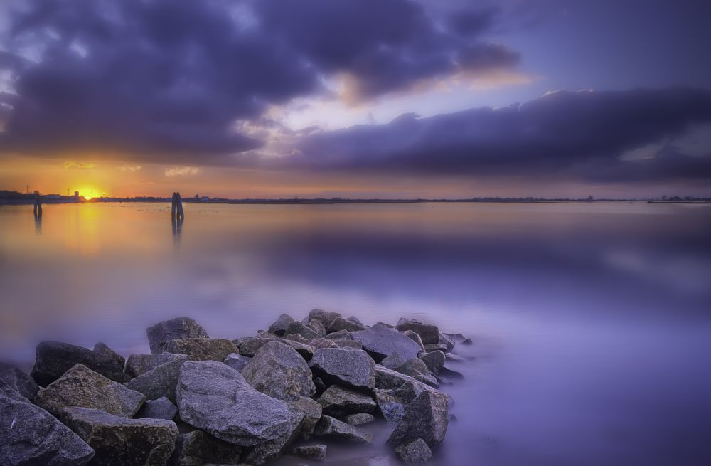 Photo in Landscape #seascape #sunset #lights #clouds #italy #nikon