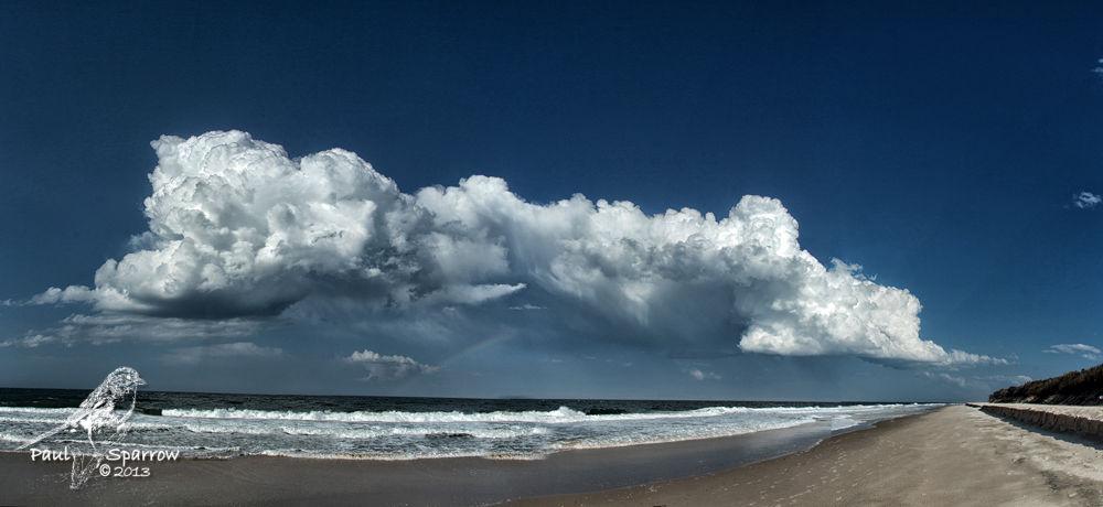 Photo in Random #storm cloud #sky #blue #beach #sand #water #sea