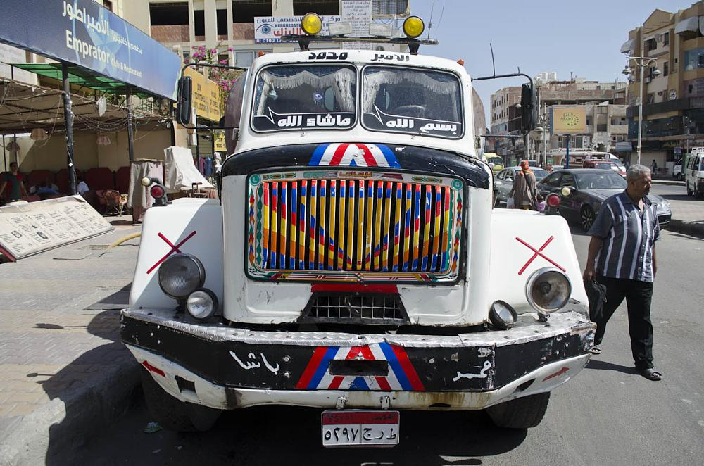 Photo in Vehicle #truck #lorry #wagon #vehicle #grill #radiator #bumper #road #egypt #egyptian