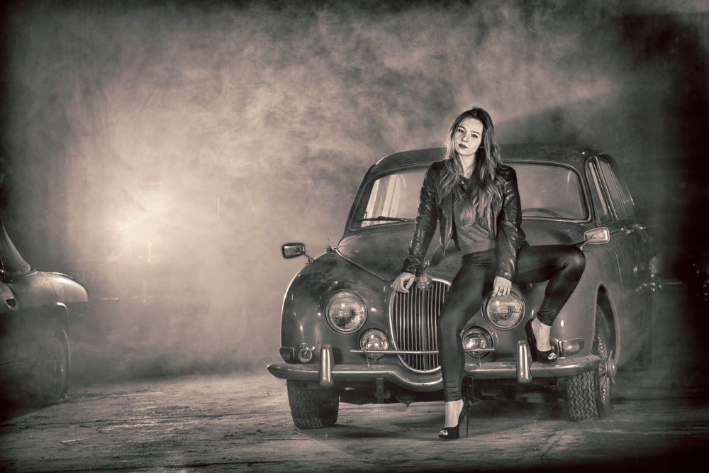 Photo in Portrait #car #old #smoke #girl #classic #auto #model #portrait #shoot