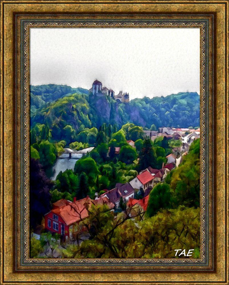 Photo in Random #art #oil #painting #view #castle #town #rock #village #fine #canvas #czech #republik #vranov #diji