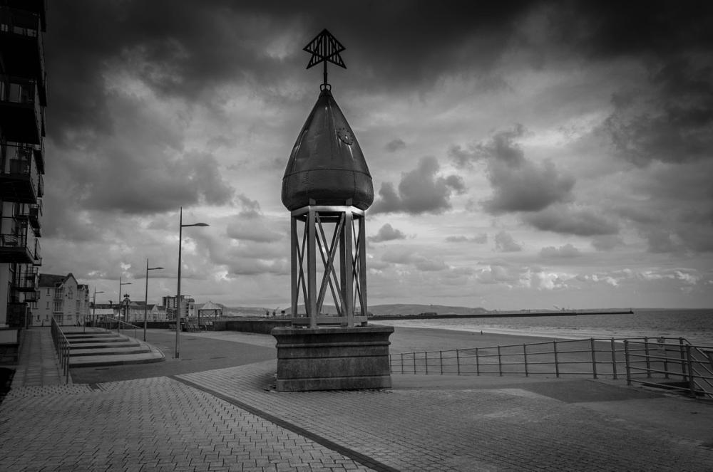 Photo in Black and White #buoy #swansea