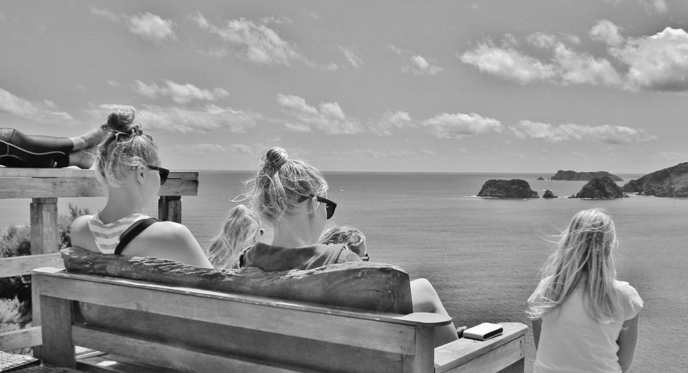 Photo in People #girls #sea #clouds #islands #black and white