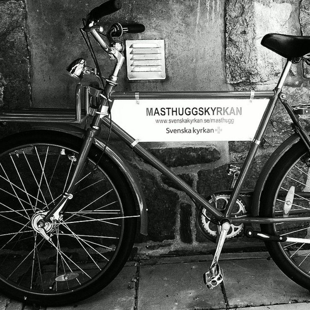 Photo in Black and White #bike #black&white #swedish church #work