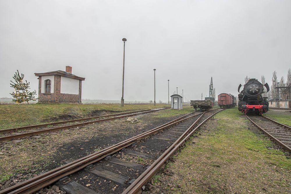 Photo in Urban #old #urban #landscape #fog #foggy #train #christmas tree #rail #railroad