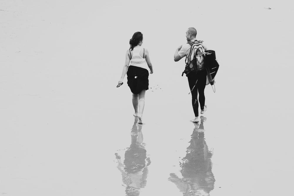 Photo in Random #saseoche #b/w #candid #people #beach #conversation #walking #reflection