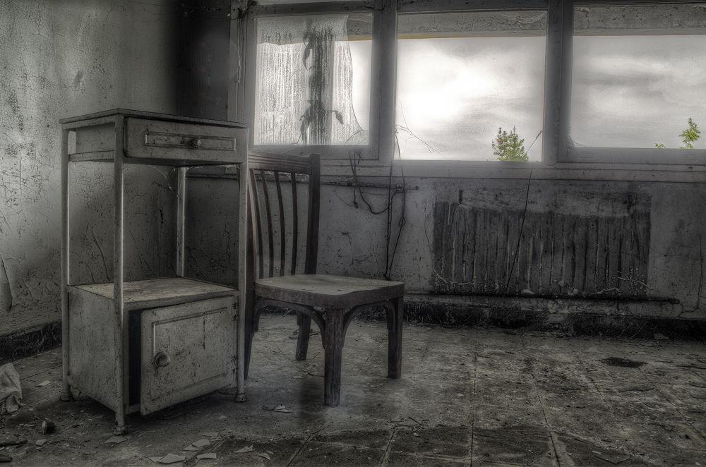 Photo in HDRI #abandoned #decay #urbex #urban #explored #creepy #window #chair #lost