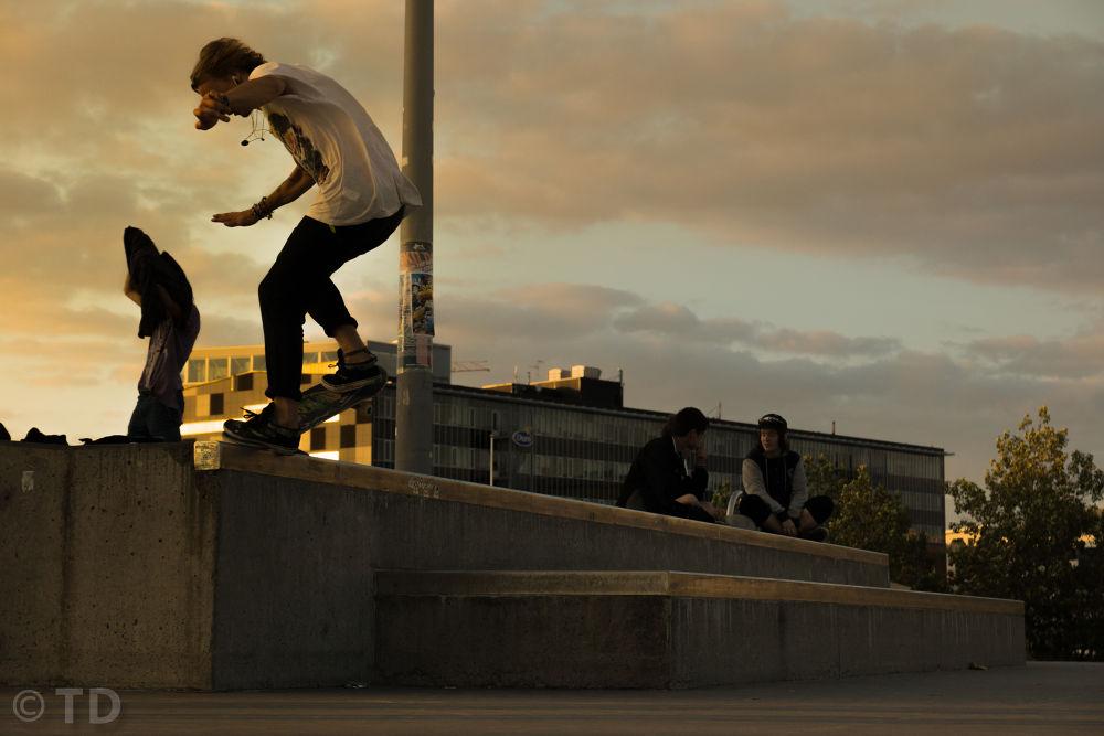 Photo in Sports #hippy #skateboard #trick #nosegrind #sunset #skatepark #people