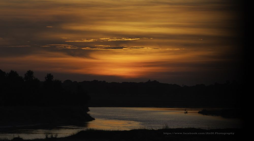 Photo in Nature #nikon #d5000 #sunset #nature #water #river #lake #bihar #india #village
