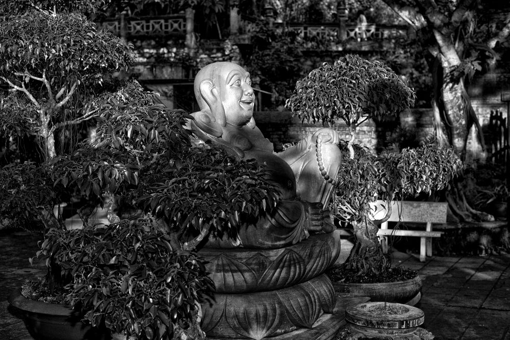Photo in Black and White #buda #vietnam #marble #mountain #light #2013