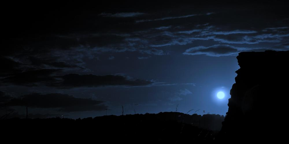Photo in Landscape #moon #mills #landscape #night #ruins