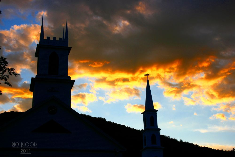 Photo in Random #etheral #church #steeple #sky #clouds #colorful