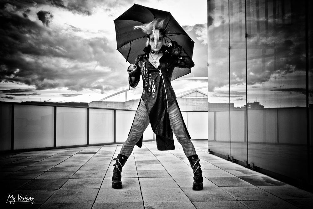 Photo in Black and White #myvisions #black and white #portrait #zaragoza #distopia #rain #sky #clouds #zaragotham