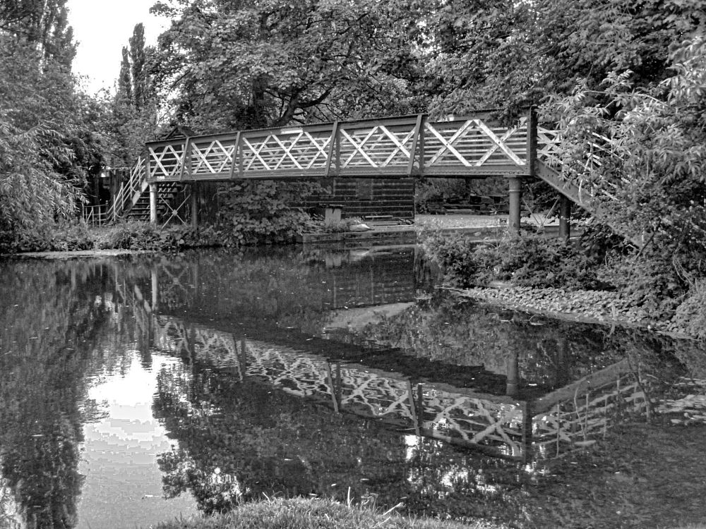 Photo in Black and White #cambridge #river cam #cam #bridge #reflection #water #river #england