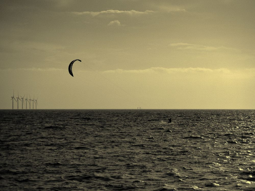 Photo in Black and White #kite surfer #sea