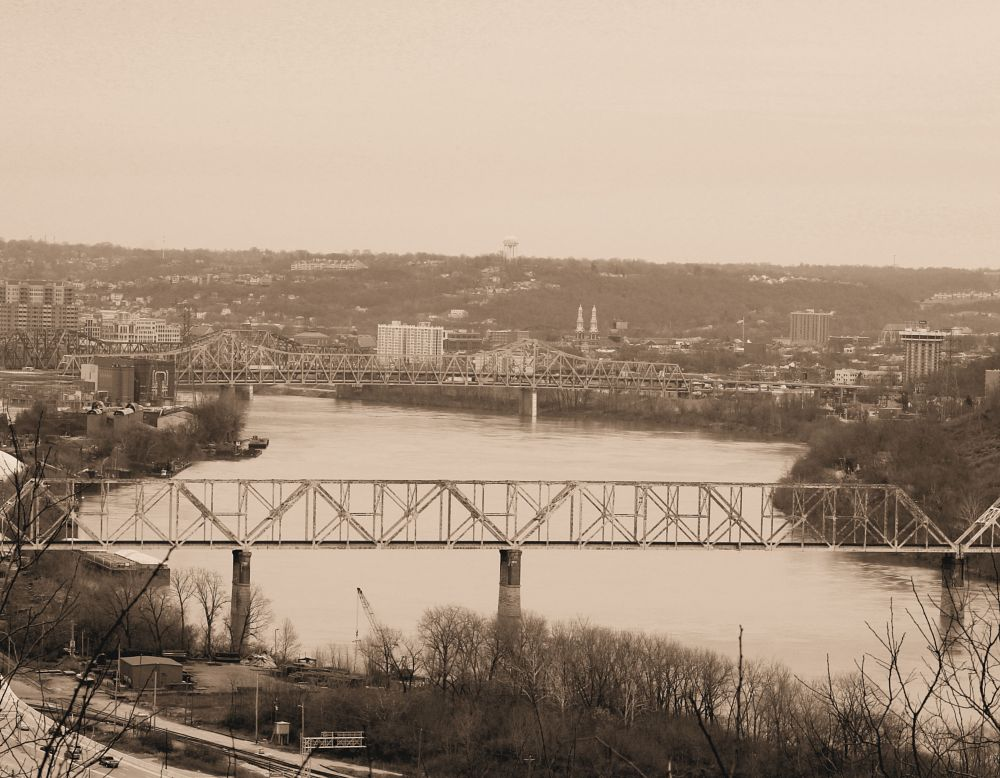 Photo in Random #ohio #river #riverbank #sepia #bridge