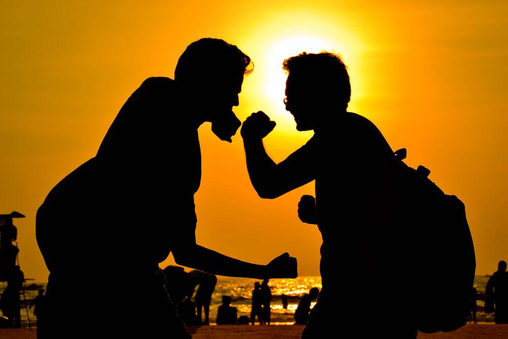 Photo in Random #photography #silhouette #goa #india #combat #mortal combat #beach #fight