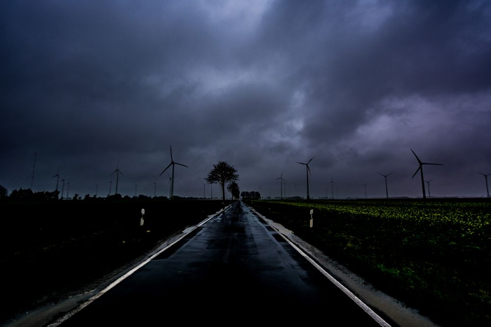Photo in Landscape #germany #landscape #blue #hour #blue hour #dark #light #clouds #air #sky #wind #windy #storm #stormy #turbines #trees #road #reflection #rain #rainy #autumn #fall #landscapes